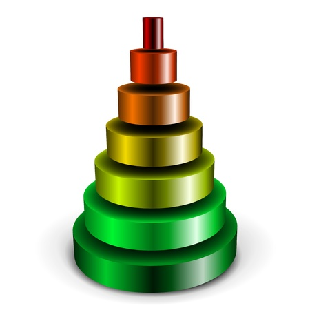 illustration of a sliced metallic cylinder pyramid filled with different colors Vector