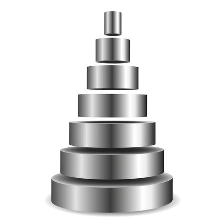 illustration of a sliced metallic cylinder pyramid Vector