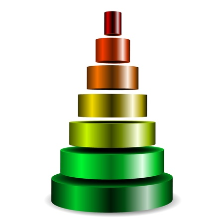 high five: illustration of a sliced metallic cylinder pyramid filled with different colors Illustration
