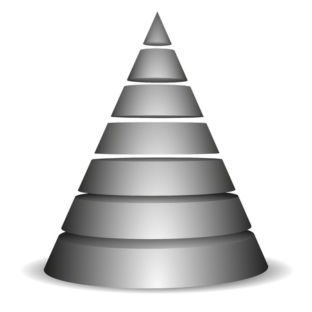 stacked: illustration of a sliced cone pyramid with seven layers Illustration