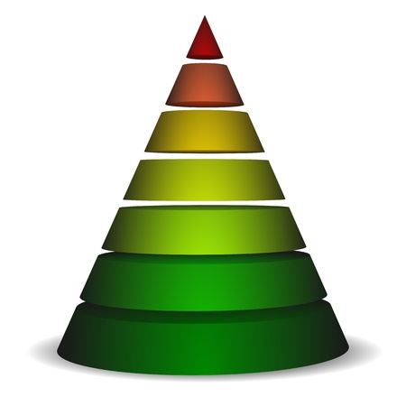 layers levels: illustration of a sliced cone pyramid filled with different colors Illustration