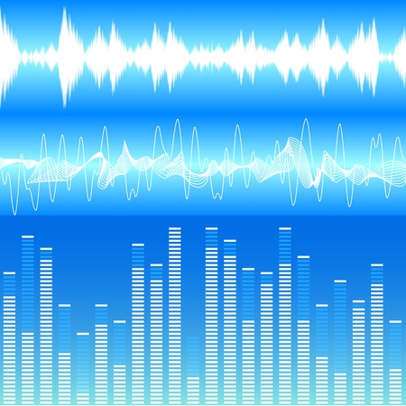 and sound: ilustraci�n de diferentes visualizaciones soundwave