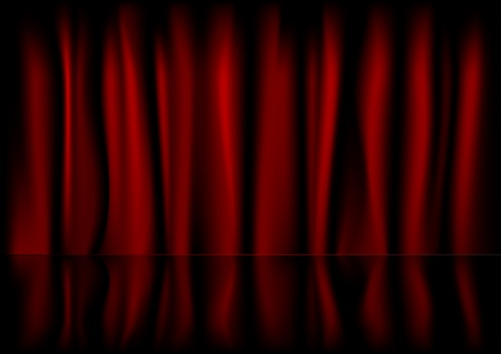 theater audience: illustration of a red curtain background with reflection