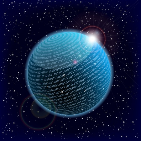 data transfer: illustration of a binary data information sphere Stock Photo