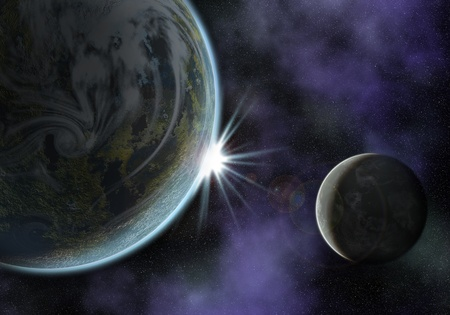 illustration of a space scene with planet and moon. the sun is about to rise illustration