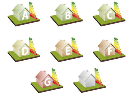 economic rent: illustration of houses with energy efficiency bars, showing the letter A to G