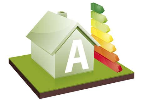 eficiencia energetica: Casa con barras de eficiencia energ�tica, que muestra la letra A Vectores