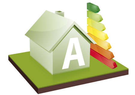 energy market: House with energy efficiency bars, showing the letter A
