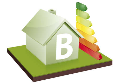house energy: House with energy efficiency bars, showing the letter B