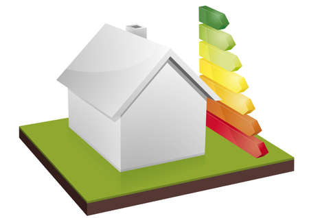 to consume: illustration of a blank house with energy efficiency bars