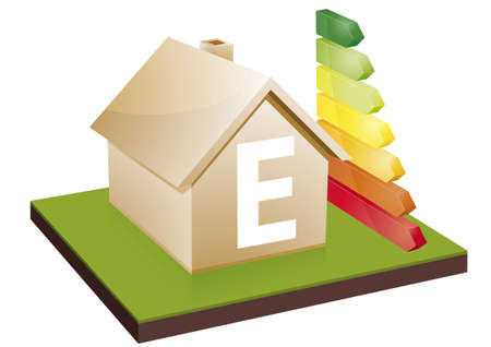 e house: House with energy efficiency bars, showing the letter E