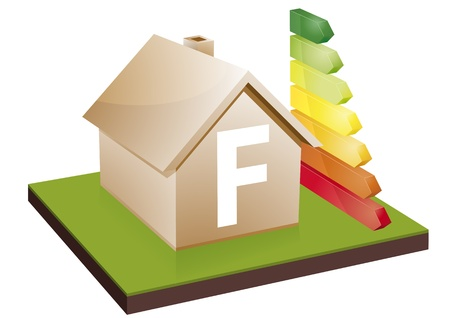 House with energy efficiency bars, showing the letter F Stock Vector - 12866037