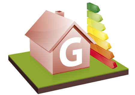 House with energy efficiency bars, showing the letter G Vector