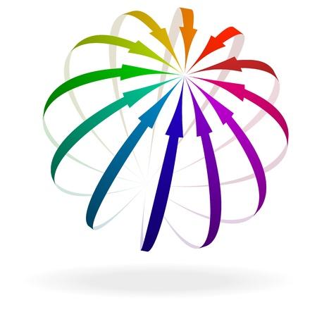 move arrow icon: ilustraci�n de flechas de colores que apuntan a un objetivo