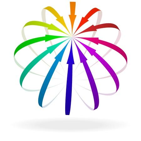 doelstelling: illustratie van kleurrijke pijlen op een doel Stock Illustratie