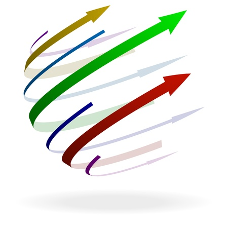 pointer emblem: illustration of colorful arrows with different size and shape pointing in one direction