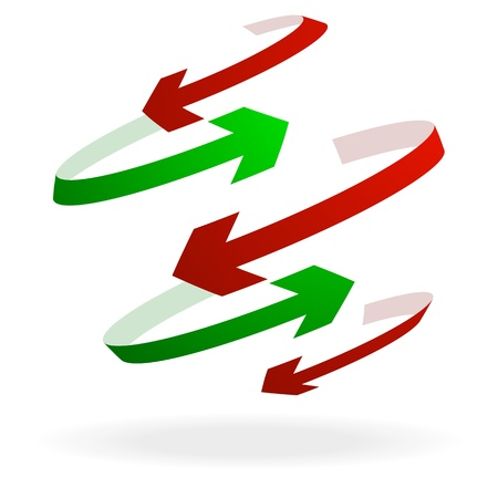 set the intention: illustration of colorful arrows pointing in different directions, symbol for trade Illustration