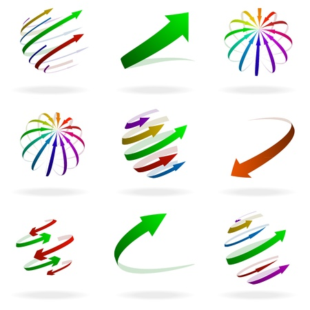 intention: set of different colorful arrow illustrations