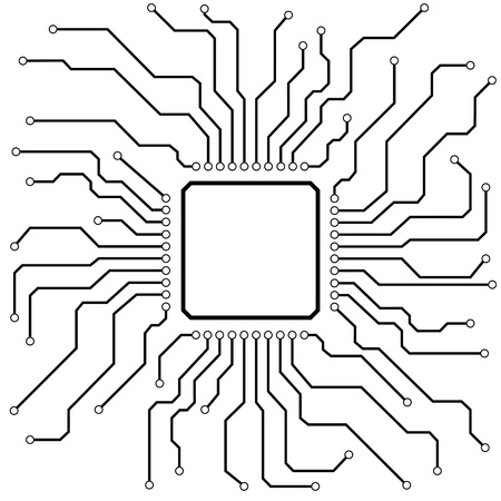 electronic circuit: illustration of a hi-tech circuit board