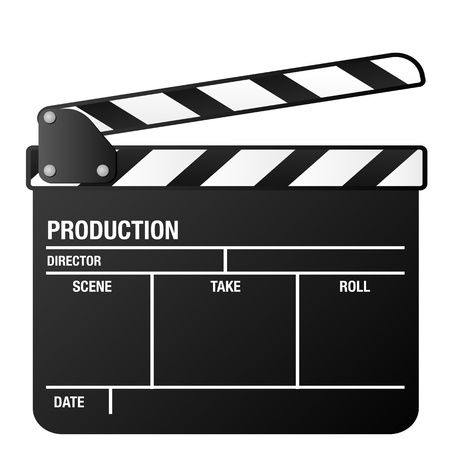 clap: illustration of a clapper board, symbol for film and video