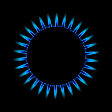 hob: illustration of a blue gas flame from above Illustration