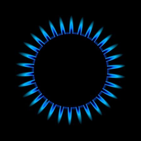gas flame: illustrazione di una fiamma blu del gas dall'alto