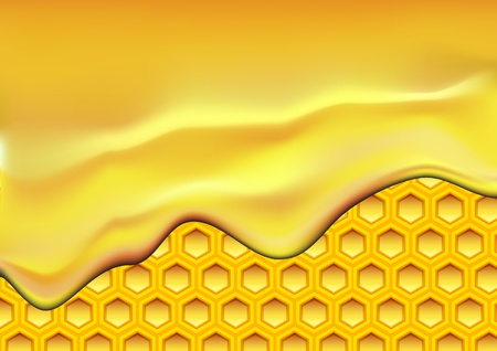 apiculture: illustration of flowing honey over a honeycomb texture