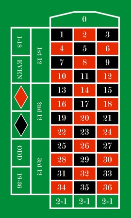 roulette table: illustration of a roulette table Illustration