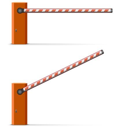 illustratie van een open en gesloten auto barrière