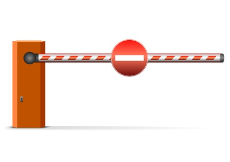 traffic barricade: illustration of a closed car barrier with sign Illustration