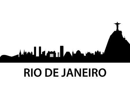 panoramic beach: detailed illustration of Rio de Janeiro skyline, Brazil