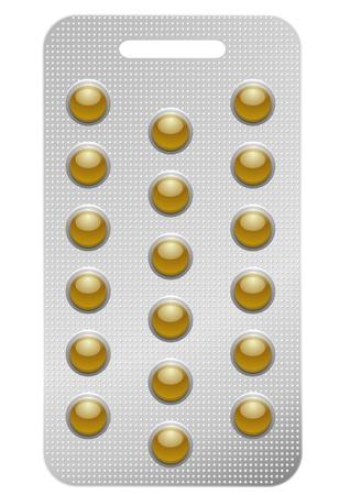 blisters: illustrazione di una confezione di pillole rotonde, isolato su bianco
