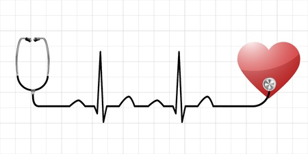 heart ecg trace: illustration of a sinus curve as a symbol for life and vitality with a heart and medical equipment  Illustration