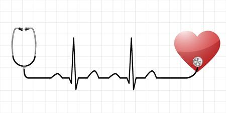 elettrocardiogramma: illustrazione di una curva del seno come simbolo per la vita e la vitalità con un cuore e attrezzature mediche