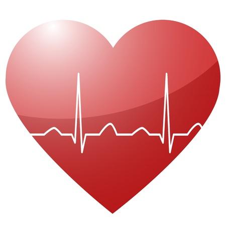 elektrokardiogramm: Illustration eines Herz mit einem Herzschlag Sinuskurve in zwischen als Symbol f�r Leben und Vitalit�t Illustration