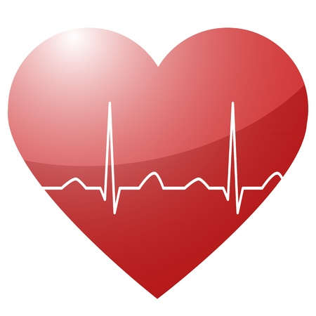 electrocardiograma: ilustraci�n de un coraz�n con un latido del coraz�n en la curva de los senos entre como un s�mbolo de la vida y la vitalidad