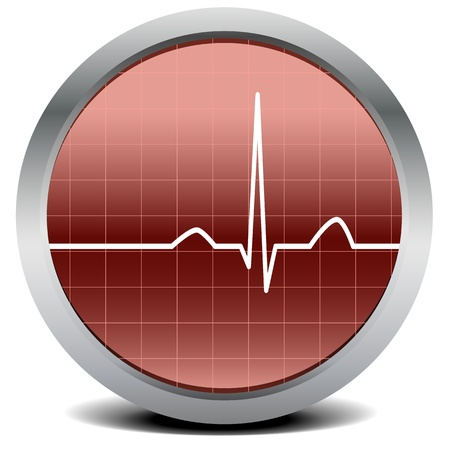 ecg monitoring: illustration of a round heart beat monitor with signal Illustration
