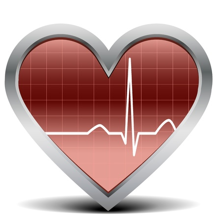 heart ecg trace: illustration of a shiny and glossy heart with a heart beat signal Illustration
