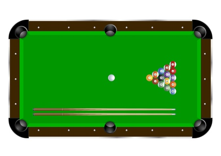 detailed illustration of a pool table with cues and balls Illustration