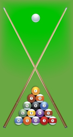 pool cue: illustration of billard cues and balls on green background Illustration