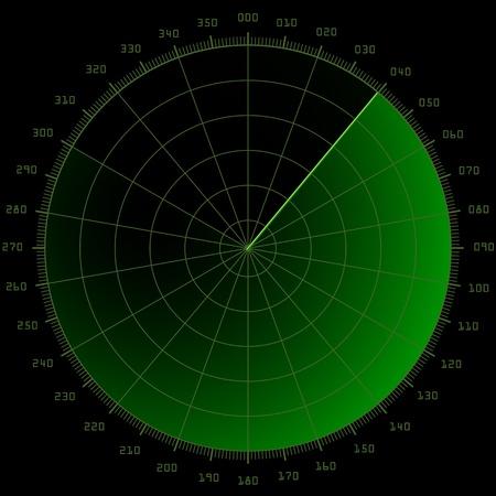 submarino: ilustración detallada de una pantalla de radar en blanco