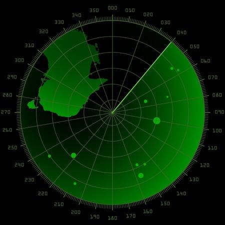 sonar: illustration d�taill�e d'un �cran radar avec des cibles et la masse continentale