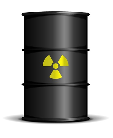toxic waste: illustration of a black barrel with a radioactive warning label