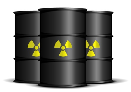 illustration of black barrels with radioactive warning labels Vector