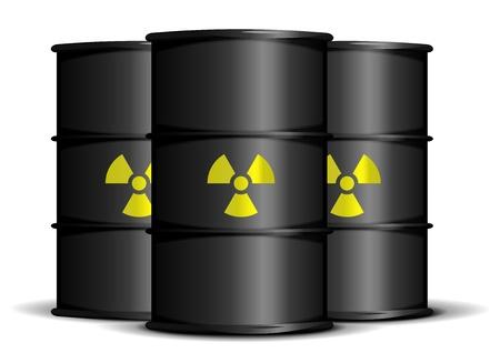 hazardous waste: illustration of black barrels with radioactive warning labels