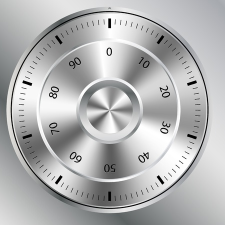combinations: illustration of a metallic combination lock with round shape