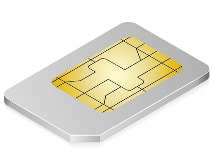 sim card: 3d illustration of a white sim card symbol for communication and technology