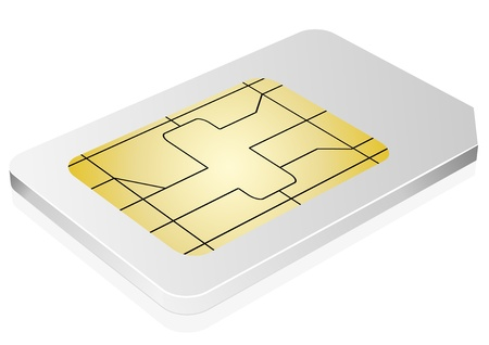 smart card: 3d illustration of a white sim card symbol for communication and technology