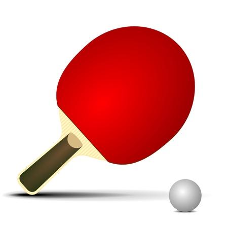 ping pong: ilustraci�n de un murci�lago de mesa con la bola