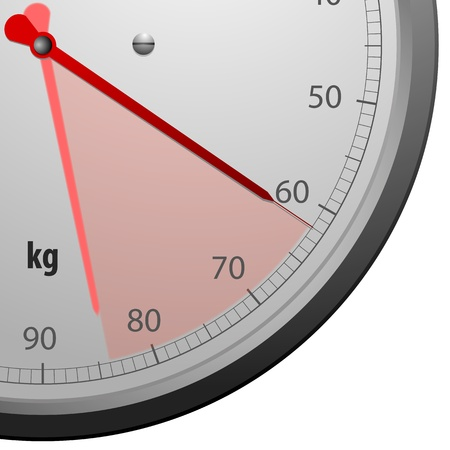 close up illustration of a scale for a weighing machine with a red marked range Stock Illustration - 13496396